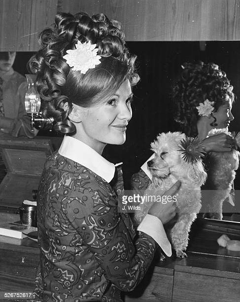 Actress Anna Palk holding her poodle Pompey getting her hair styled at the Bruton Street salon prior to her appearance at the Derby Playhouse in 'The...
