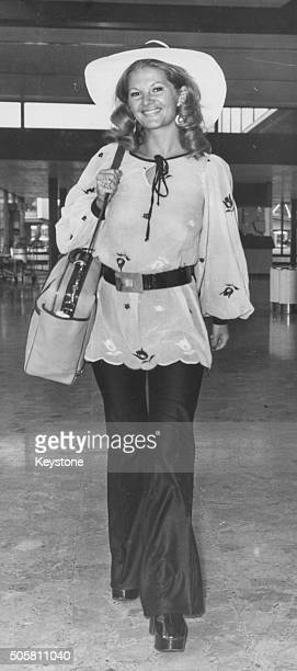 Actress Anna Palk pictured arriving back in the country to judge the 'Miss Great Britain' contest at Heathrow Airport London September 11th 1972