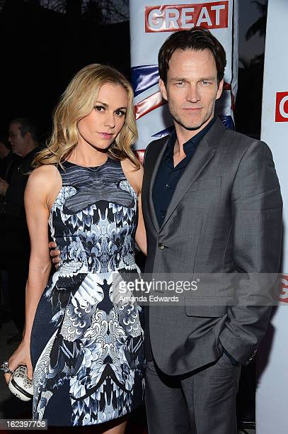 Actress Anna Paquin and actor Stephen Moyer arrive at the GREAT British Film Reception honoring the British nominees of The 85th Annual Academy...
