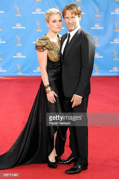 Actress Anna Paquin and actor Stephen Moyer arrives at the 62nd Annual Primetime Emmy Awards held at the Nokia Theatre LA Live on August 29 2010 in...