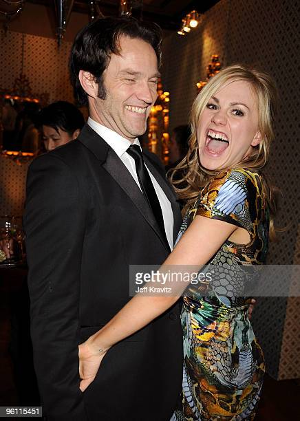 Actress Anna Paquin and actor Stephen Moyer attend the HBO post SAG awards party at Spago on January 23 2010 in Beverly Hills California