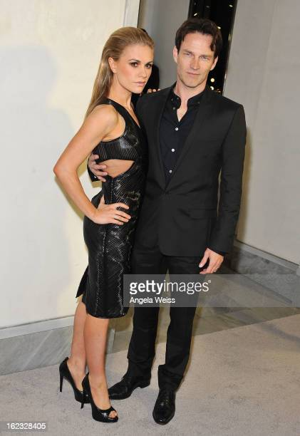 Actress Anna Paquin and actor Stephen Moyer attend Tom Ford's cocktail event in support of Project Angel Food at TOM FORD on February 21 2013 in...