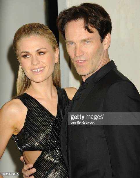 Actress Anna Paquin and actor Stephen Moyer attends the Tom Ford cocktail party in support of Project Angel Food Media held at TOM FORD boutique on...