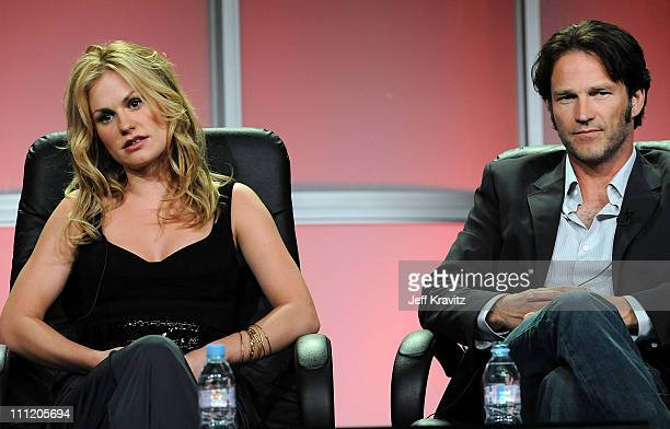 Actress Anna Paquin and actor Stephen Moyer of 'True Blood' speak during the HBO Channel 2008 Summer Television Critics Association Press Tour held...
