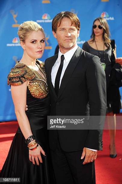 Actress Anna Paquin and husband actor Stephen Moyer arrive at the 62nd Annual Primetime Emmy Awards held at the Nokia Theatre LA Live on August 29...