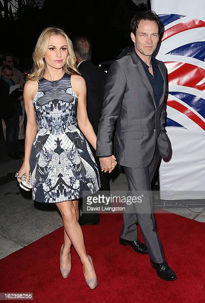 Actress Anna Paquin and husband actor Stephen Moyer attend the GREAT British Film Reception at the British Consul General's Residence on February 22...