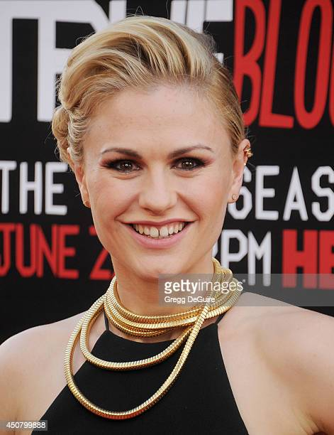 Actress Anna Paquin arrives at HBO's True Blood final season premiere at TCL Chinese Theatre on June 17 2014 in Hollywood California