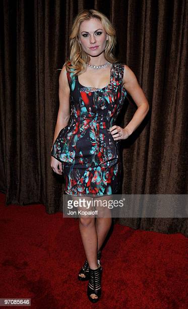 Actress Anna Paquin arrives at the 12th Annual Costume Designers Guild Awards at the Beverly Hilton Hotel on February 25, 2010 in Beverly Hills,...