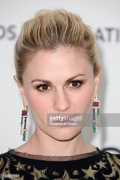 Actress Anna Paquin arrives at the 20th Annual Elton John AIDS Foundation's Oscar Viewing Party held at West Hollywood Park on February 26 2012 in...