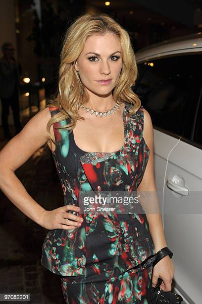 Actress Anna Paquin arrives in an Audi to the 12th Annual Costume Designers Guild Awards at The Beverly Hilton hotel on February 25, 2010 in Beverly...