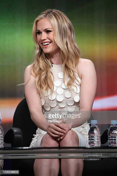 """Actress Anna Paquin speaks during HBO's """"True Blood"""" TCA Panel during the 2011 Summer TCA Tour at the Beverly Hilton on July 28, 2011 in Beverly..."""