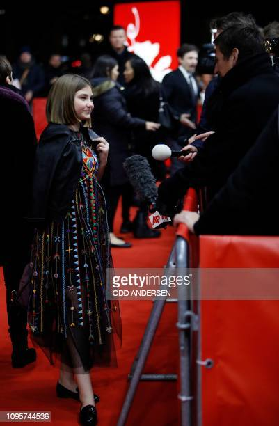 Actress Anna Pniowsky poses on the red carpet as she arrives for the premiere of the film Light of My Life during the 69th Berlinale film festival on...