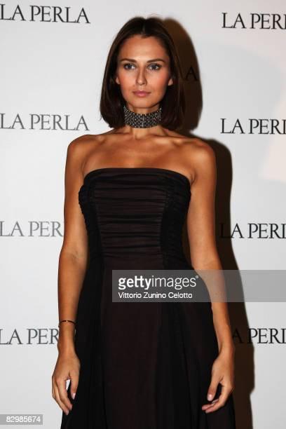 Actress Anna Safroncik arrives for the La Perla fashion show at Milan Fashion Week Spring/Summer 2009 on September 24 2008 in Milan Italy