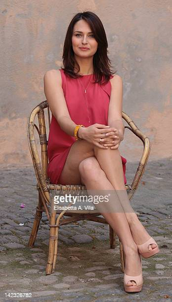 Actress Anna Safroncik attends 'Le Tre Rose Di Eva' Mediaset Tv series photocall at Castello di Torrimpietra on April 2 2012 in Rome Italy