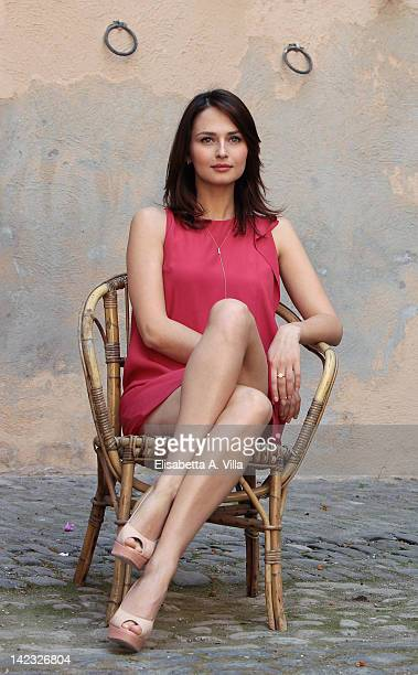 Actress Anna Safroncik attends 'Le Tre Rose Di Eva' Mediaset Tv series photocall at Castello di Torrimpietra on April 2 2012 in Rome Italy