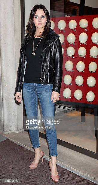 Actress Anna Safroncik attends the Private Art Performance By Jay C Lohmann at Moreschi boutique on March 21 2012 in Rome Italy