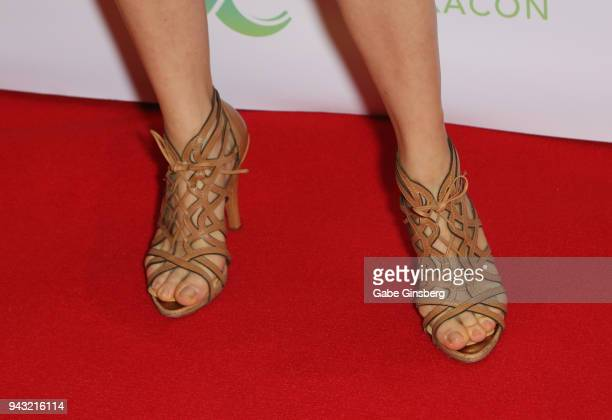 Actress Anna Silk shoes detail attends the Cocktails for Change fundraiser hosted by ClexaCon to benefit Cyndi Lauper's True Colors Fund at the...