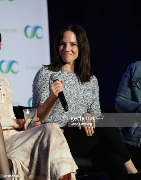 Actress Anna Silk speaks at the 'Lost Girl Reunion' panel during the ClexaCon 2018 convention at the Tropicana Las Vegas on April 6 2018 in Las Vegas...