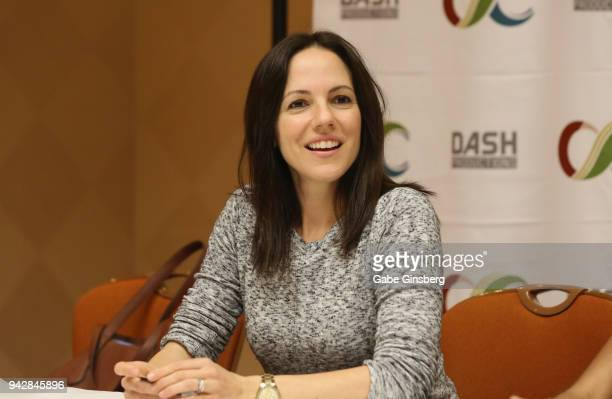 Actress Anna Silk speaks to interviewers during the ClexaCon 2018 convention at the Tropicana Las Vegas on April 6 2018 in Las Vegas Nevada