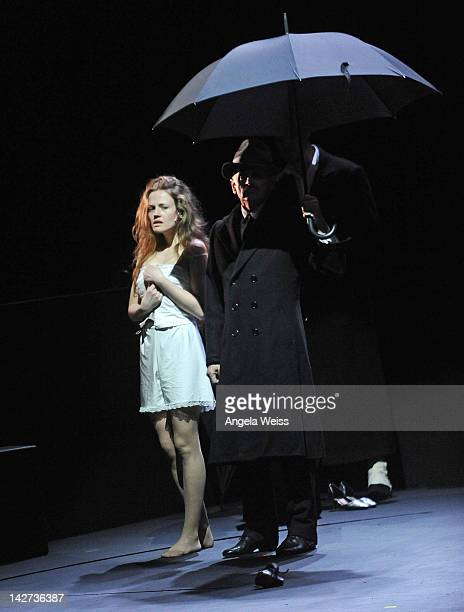 Actress Anna Sinyakina and actor/dancer Mikhail Baryshnikov perform in the US Premiere of In Paris at The Broad Stage on April 11 2012 in Santa...