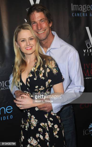 Actress Anna Sophia Berglund and actor/fiance Charlie O'Connell arrive for the premiere of Living Among Us held at Ahrya Fine Arts Theater on...
