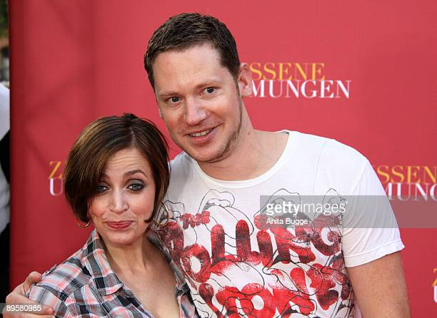 Actress Anna Thalbach and actor Marco Kreuzpaintner attend the Los Abrazos Rotos - German Premiere at cinema Kulturbrauerei on August 3, 2009 in...