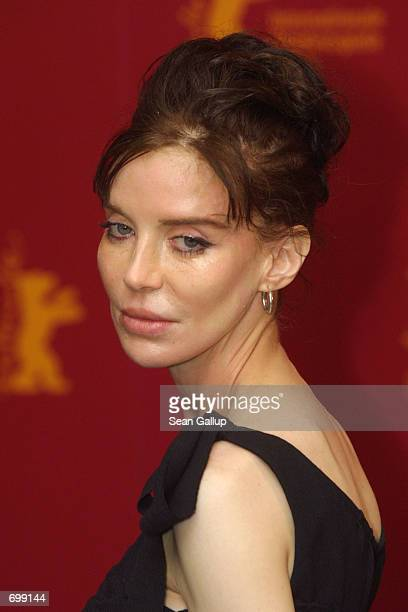 Actress Anna Thomson who stars in the recent film 'Bridget' arrives at the Berlinale Film Festival February 7 2002 in Berlin Germany
