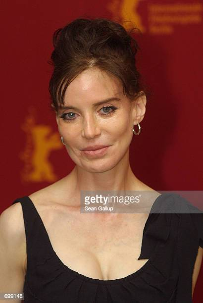 Actress Anna Thomson who stars in the recent film Bridget arrives at the Berlinale Film Festival February 7 2002 in Berlin Germany