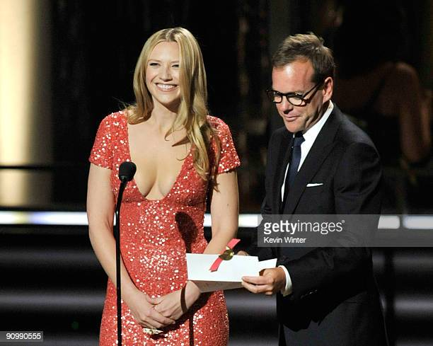 Actress Anna Torv and actor Kiefer Sutherland present the Outstanding Made For Television Movie award onstage during the 61st Primetime Emmy Awards...