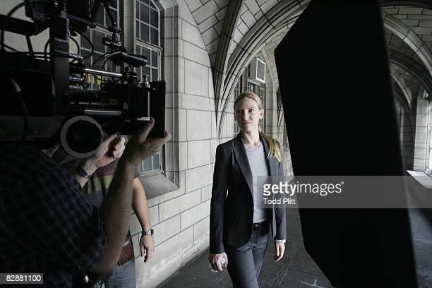 Actress Anna Torv on the set of Fringe in upper Manhattan on August 26 2008