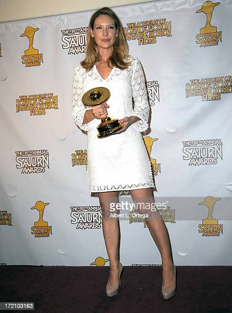 Actress Anna Torv poses at 39th Annual Saturn Awards inside the Press Room at The Castaway on June 26 2013 in Burbank California
