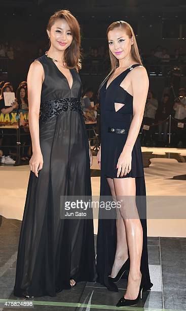 Actress Anna Tsuchiya and model Maryjun Takahashi attend the 'Mad Max Fury Road' Japan premiere at Tokyo Dome City Hall on June 4 2015 in Tokyo Japan