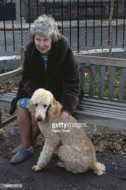 Actress Anna Wing pictured on the exterior set of the BBC soap opera 'EastEnders' April 5th 1991