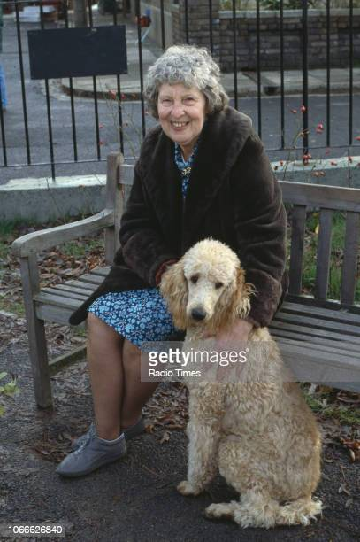Actress Anna Wing pictured on the exterior set of the BBC soap opera 'EastEnders' December 18th 1985