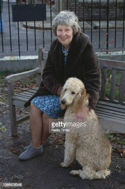 Actress Anna Wing pictured on the exterior set of the BBC soap opera 'EastEnders' 1986