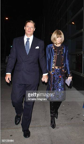 Actress Anna Wintour and husband J Shelby Bryan arrive at Sotheby's for an AmFar and ACRIA sponsored benefit to honor Herb Ritts February 2 2005 in...