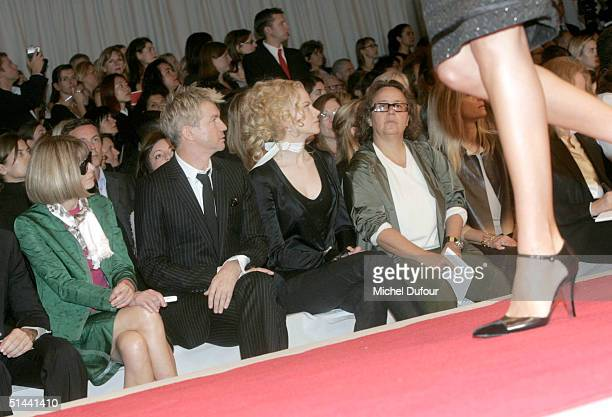 Actress Anna Wintour director Baz Luhrmann actress Nicole Kidman and editor Ingrid Sischy attend the Chanel fashion show as part of Paris Fashion...