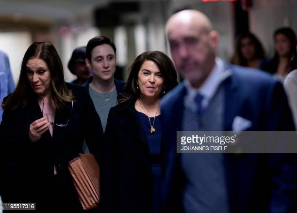 Actress Annabella Sciorra arrives in Manhattan Criminal Court on January 23 2020 in New York City The Sopranos actress Annabella Sciorra who says...