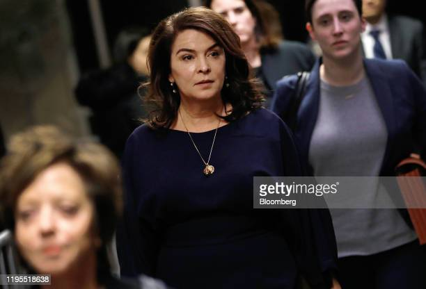 Actress Annabella Sciorra center exits the court room during a break at state supreme court in New York US on Thursday Jan 23 2020 Harvey...