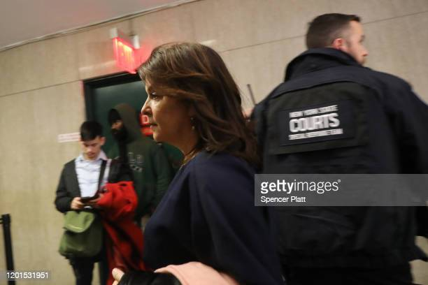 Actress Annabella Sciorra leaves a Manhattan court house after testifying on the second day of the Harvey Weinstein trial on January 23 2020 in New...