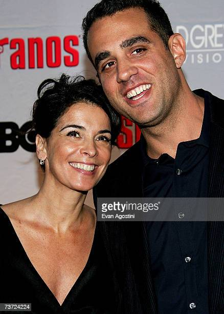 Actress Annabella Sciorra with actor Bobby Cannavale attend the HBO premiere of The Sopranos at Radio City Music Hall on March 27 2007 in New York...