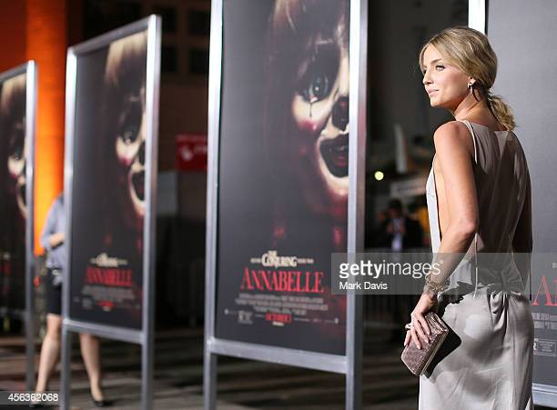 Actress Annabelle Wallis attends the screening of New Line Cinema's 'Annabelle' held at the TCL Chinese Theatre on September 29 2014 in Hollywood...