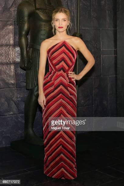 Actress Annabelle Wallis poses for pictures during 'The Mummy' red carpet at Soumaya Museum on June 05 2017 in Mexico City Mexico