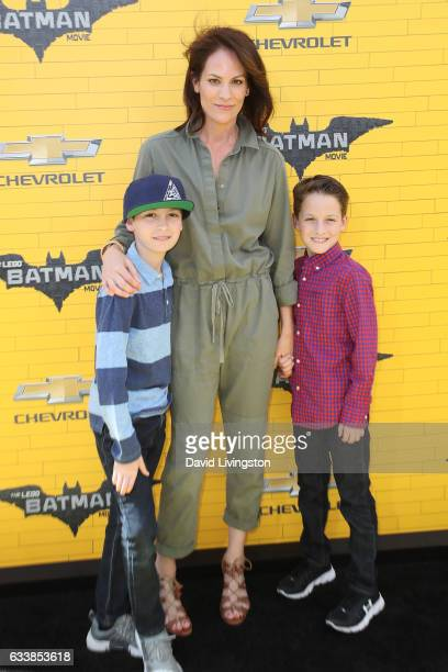 Actress Annabeth Gish and her sons Cash Allen and Enzo Allen attend the Premiere of Warner Bros Pictures' The LEGO Batman Movie at the Regency...