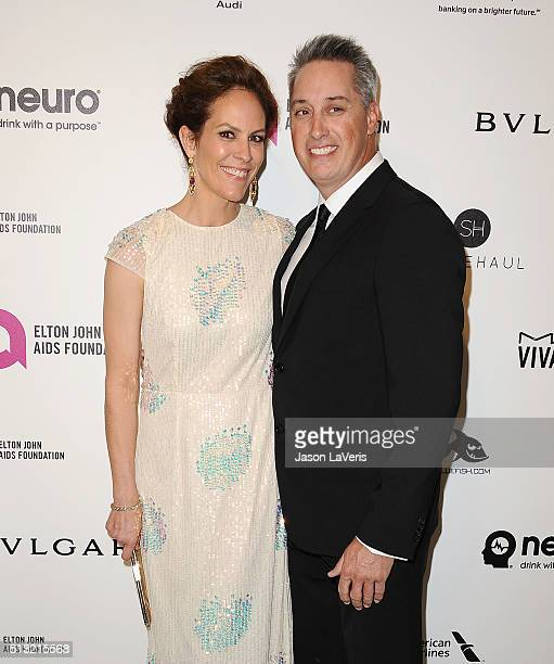 Actress Annabeth Gish and husband Wade Allen attend the 24th annual Elton John AIDS Foundation's Oscar viewing party on February 28 2016 in West...