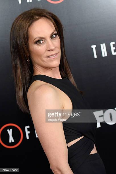 Actress Annabeth Gish attends the premiere of Fox's The XFiles at California Science Center on January 12 2016 in Los Angeles California