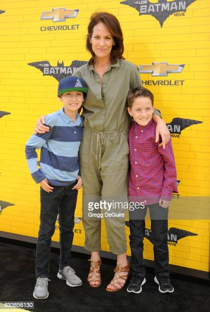 Actress Annabeth Gish sons Enzo Edward Allen and Cash Alexander Allen arrive at the premiere of Warner Bros Pictures' 'The LEGO Batman Movie' at...