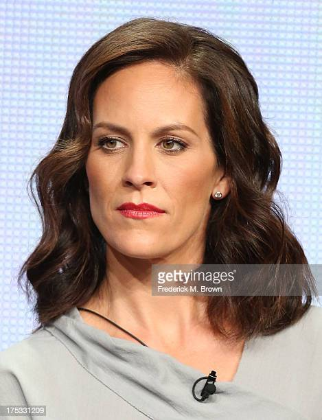Actress Annabeth Gish speaks onstage during The Bridge panel discussion at the FX portion of the 2013 Summer Television Critics Association tour Day...