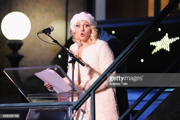 Actress Annaleigh Ashford attends Macy's Herald Square 2014 Christmas Window Unveiling Spectacular at Macy's Herald Square on November 20 2014 in New...