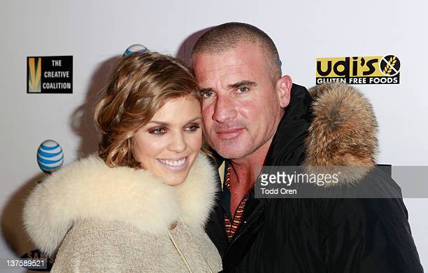 Actress AnnaLynne McCord and actor Dominic Purcell attends the Creative Coalition's Annual Spotlight Initiative Awards Gala Dinner at The Supper Club...